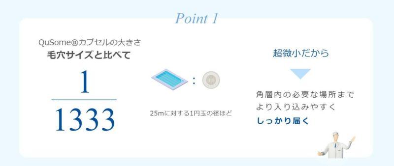 特徴①:QuSome(R)カプセルの大きさ